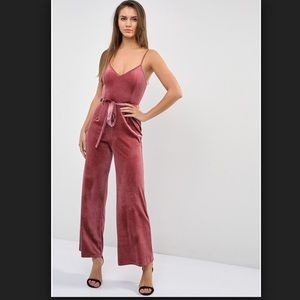 Forever 21 Velvet Belted Palazzo Jumpsuit in Mauve
